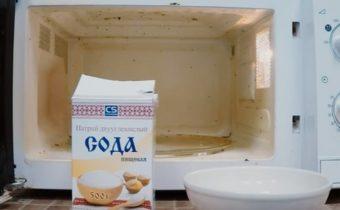 Почистить микроволновку содой