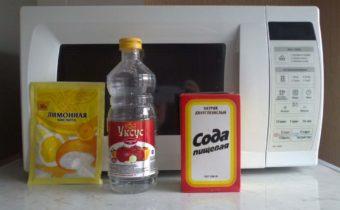 Почистить микроволновку содой, уксусом, лимонкой