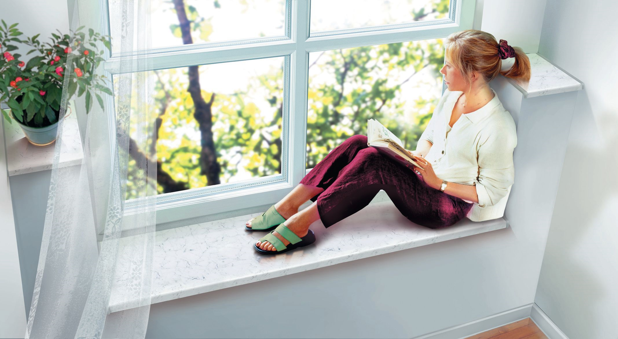 женщина у чистого окна