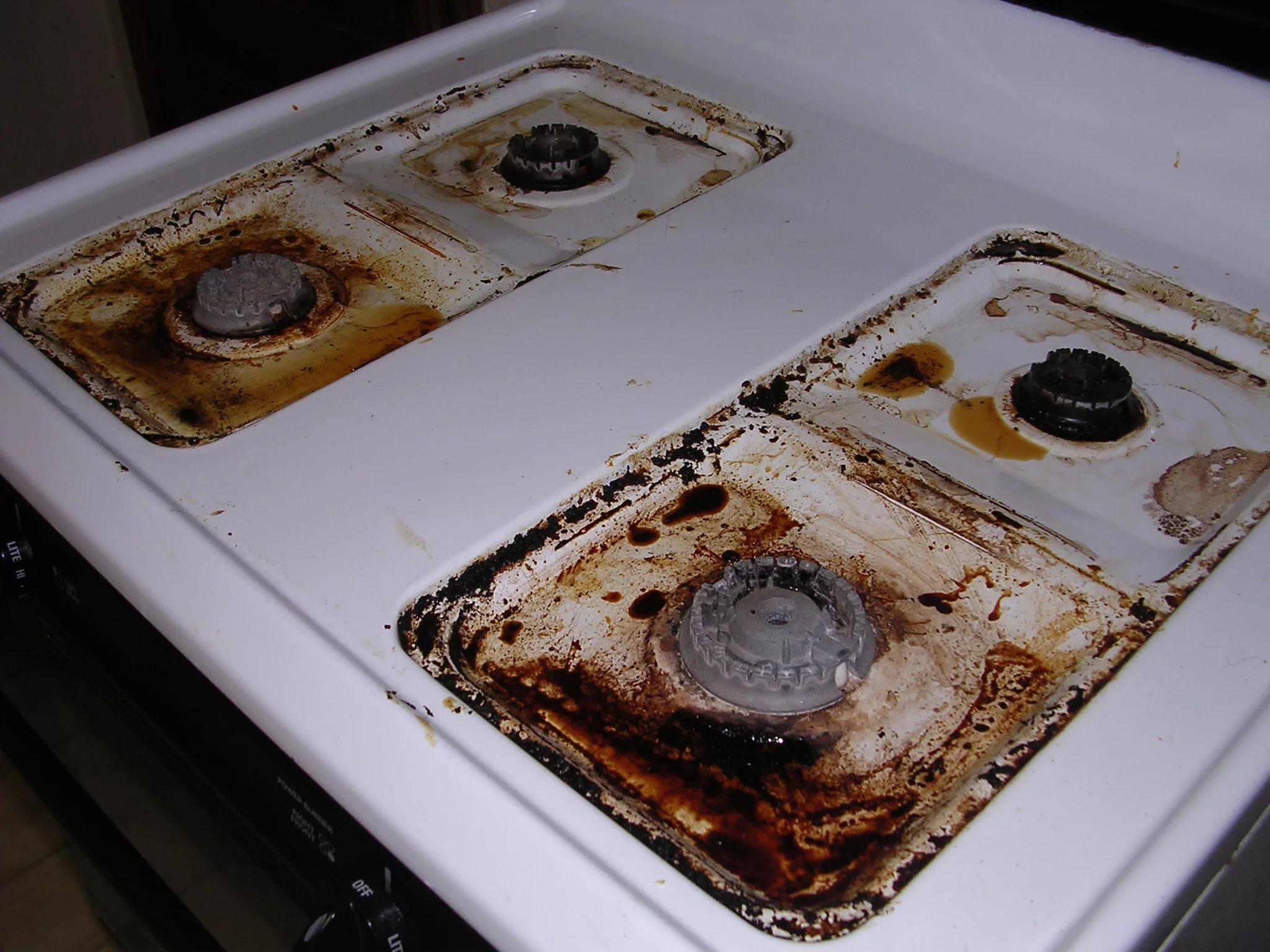 грязная газовая плита