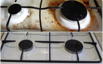 плита до и после чистки