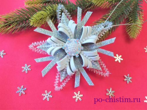 как сделать красивую снежинку из фоамирана