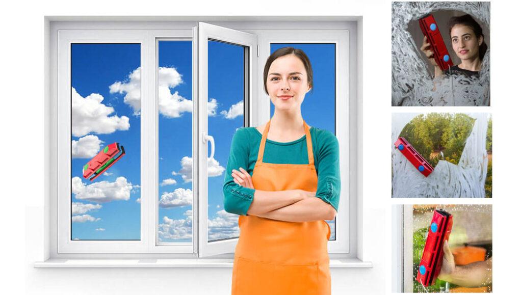 магнитная щетка для мытья окон с двух сторон для стеклопакетов